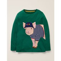 British Animal T-shirt Green Boys Boden, Green