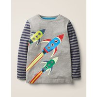 Glow-in-the-dark Space T-shirt Grey Boys Boden, Grey