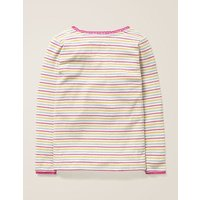 Supersoft Pointelle T-shirt Pink Girls Boden, Multicouloured