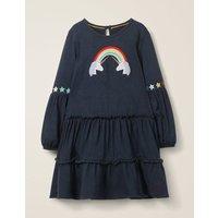 Bright Tiered Jersey Dress Blue Girls Boden, Blue