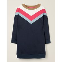 Sporty Chevron Jersey Dress Blue Girls Boden, Blue
