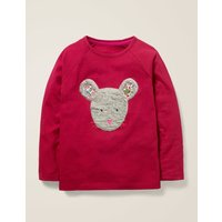 Animal Face T-shirt Red Girls Boden, Red