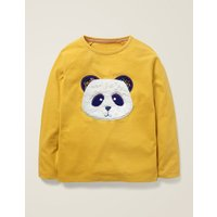Animal Face T-shirt Yellow Girls Boden, yellow