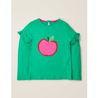 Colour-change Sequin T-shirt Green Girls Boden, Green