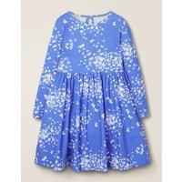 Printed Twirly Jersey Dress Blue Girls Boden, Blue