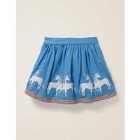 Applique Hem Skirt Blue Girls Boden, Blue