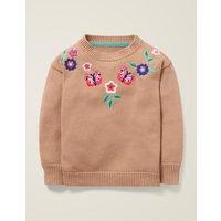Embroidered Yoke Jumper Pink Girls Boden, Pink