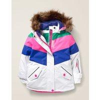 All-weather Waterproof Jacket White/ Blue Heron Girls Boden, White/ Blue Heron