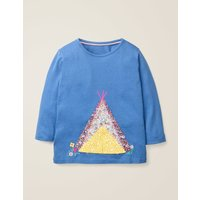 Adventure Appliqué T-shirt Blue Girls Boden, Blue