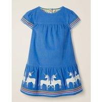 Unicorn Tiered Dress Blue Girls Boden, Blue