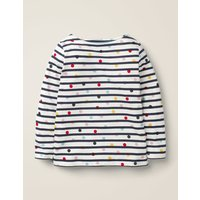 Lightweight Breton Navy Girls Boden, Ivory