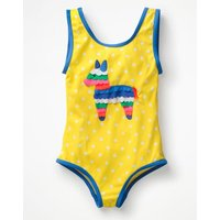 Appliqué Swimsuit Yellow Girls Boden, Yellow