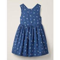 Cross-back Printed Dress Blue Girls Boden, Blue