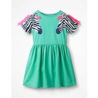 Wildlife Appliqué Sleeve Dress Green Girls Boden, Green