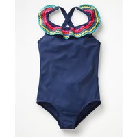 Colourful Frill Swimsuit Blue Girls Boden, Blue