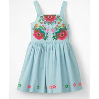 Bright Embroidered Dress Blue Girls Boden, Blue