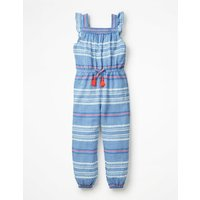 Frill Sleeve Woven Jumpsuit Blue Girls Boden, Blue