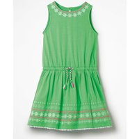 Embroidered Tie-waist Dress Green Girls Boden, Green