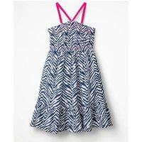 Strappy Smocked Midi Dress Navy Girls Boden, Blue