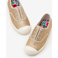 Laceless Canvas Shoes Gold Girls Boden, Gold