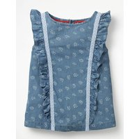 Johnnie B Lace Detail Woven Top Blue Girls Boden, Blue