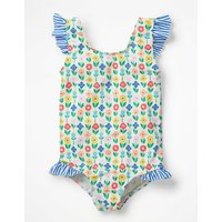 Frilly Printed Swimsuit Ivory Girls Boden, Ivory