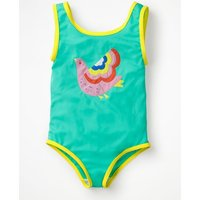 Appliqué Swimsuit Green Girls Boden, Green