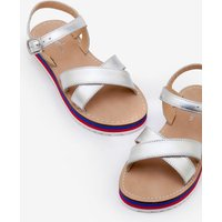 Johnnie B Stripy Sandals Silver Girls Boden, Silver