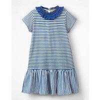 Ruffle Neck Jersey Dress Blue Girls Boden, Blue