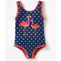 Appliqué Swimsuit Navy Girls Boden, Blue