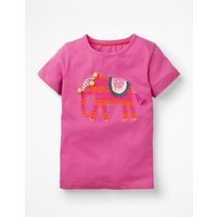 Animal Big Appliqué T-shirt Pink Girls Boden, Pink