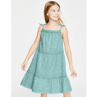 Tiered Garment-dyed Dress Blue Girls Boden, Blue