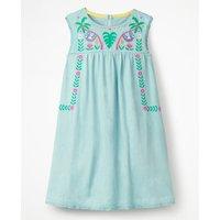 Bold Embroidered Jersey Dress Blue Girls Boden, Blue