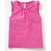 Flutter Sleeve Jersey Top Pink Girls Boden, Pink