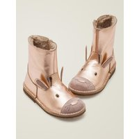 Cosy Short Leather Boots Metallic Girls Boden, Gold pink