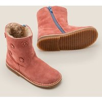 Cosy Short Leather Boots Pink Girls Boden, Pink