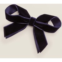 Velvet Bow Hair Clip Navy Girls Boden, Navy