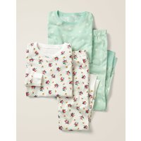 Twin Pack Long John Pyjamas Ivory Girls Boden, Green