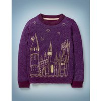 Embroidered Hogwarts Jumper Purple Girls Boden, Purple