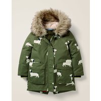 Cosy Waterproof Coat Khaki Girls Boden, Green