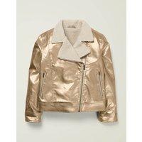 Johnnie B Metallic Biker Jacket Gold Girls Boden, Gold