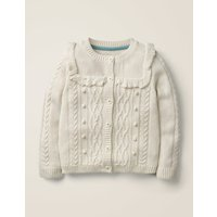 Cable Cardigan Ivory Girls Boden, Beige