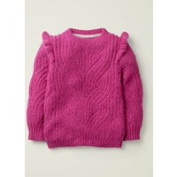 Johnnie B Cable Frill Jumper Pink Girls Boden, Pink