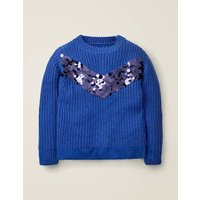 Johnnie B Sequin Stripe Jumper Blue Girls Boden, Blue