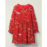Woodland Printed Dress Red Girls Boden, Red