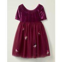 Velvet Applique Dress Purple Girls Boden, Purple