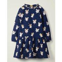 Cosy Bow Dress Navy Girls Boden, Blue