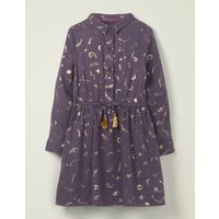 Johnnie B Tassel Button-through Dress Purple Girls Boden, Purple