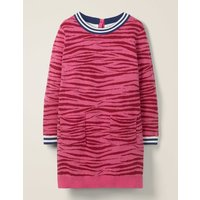 Animal Print Knitted Dress Pink Girls Boden, Pink