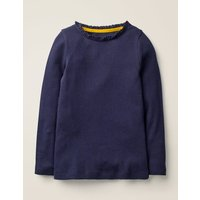 Lace Trim Ribbed T-shirt Blue Girls Boden, Blue